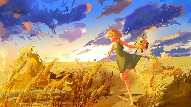 musim luruh yang sederhana dan segar hello penuaian indah membakar awan berjalan gadis ilustrasi imej keterlaluan imej ilustrasi
