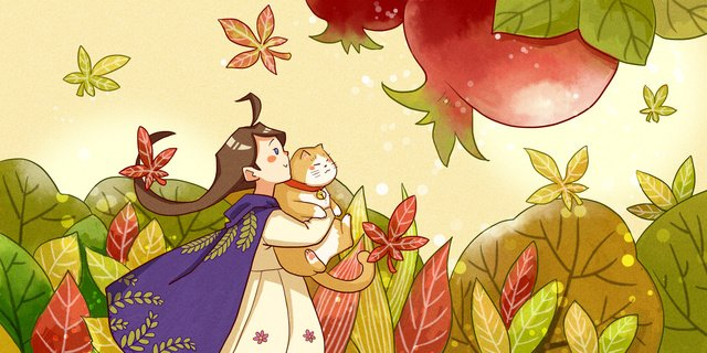 Autumn hello girl and cat, Hello There, Fall, Leaf illustration image