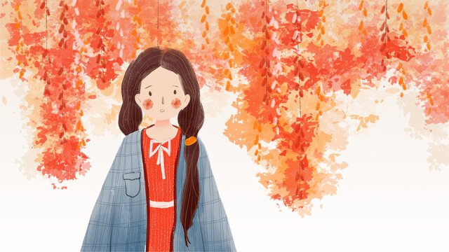 Hello autumn girl tree plant small fresh illustration with background, Hello There, Fall, Teenage Girl illustration image
