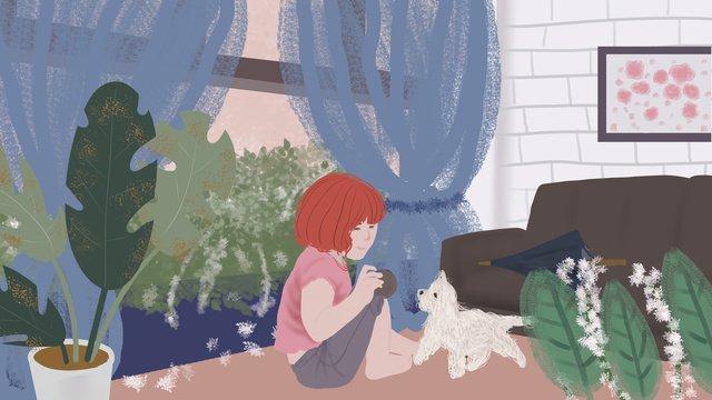 안녕 좋은 아침 개와 노는 어린 소녀 삽화 소재