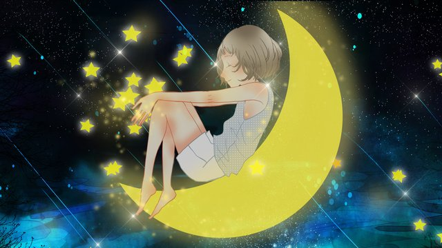 Hello good night fresh and cure the child on moon llustration image