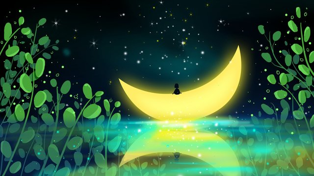 Hello good night moonlight illustration, Hello There, Good Night, Illustration illustration image