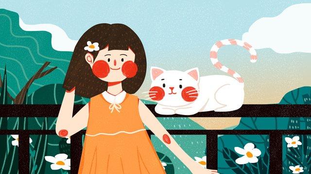 tháng 11 hello girl cat cute simple flat gốc Hình minh họa Hình minh họa