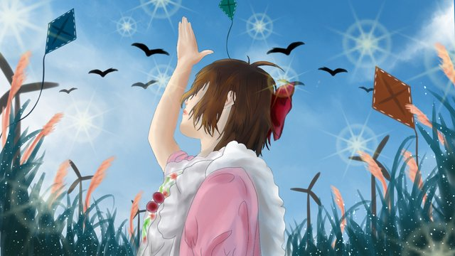 9月に空の下でこんにちは女の子 イラスト素材