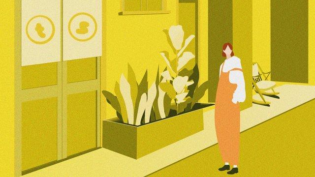 Hello september girl plant small fresh flat wind street illustration with map llustration image illustration image