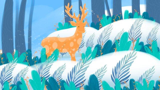 숲은 사슴 치료 아름다운 그림을 참조하십시오 삽화 소재 삽화 이미지