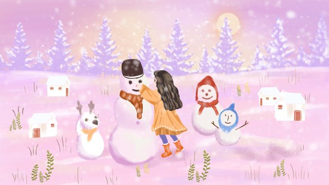 Hello winter beautiful snow scene little girl snowman hand drawn illustration llustration image illustration image
