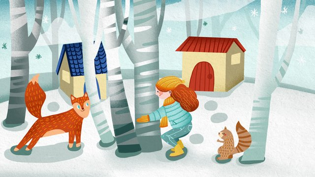 winter hello girl and animals playing in the forest cute illustration llustration image illustration image