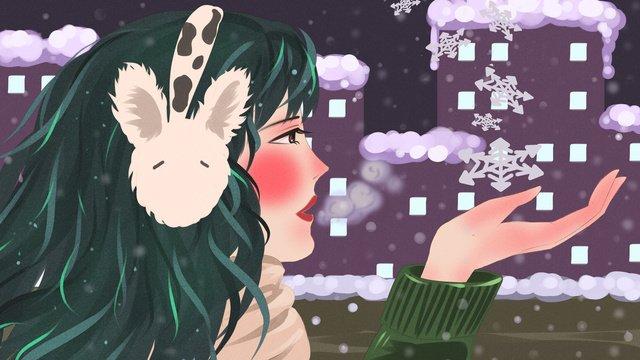 winter hello night city top floor looking snowy girl beautiful illustration llustration image illustration image