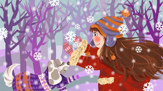 Winter hello snowy day catching snowflakes girl and dog fresh illustration llustration image illustration image