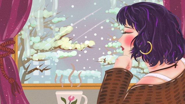 Winter hello window snowing girl drinking milk tea in warm interior llustration image