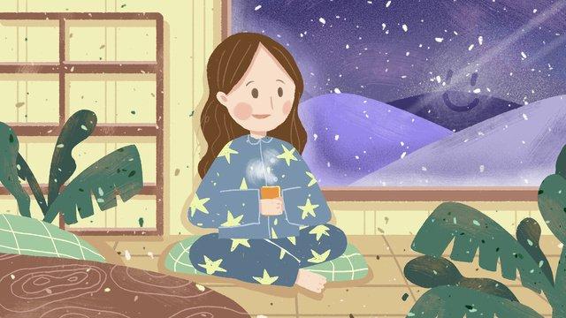冬こんにちは冬景色オリジナルイラスト イラストレーション画像