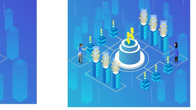 Small fresh blue gradient financial 2.5d illustration, High Building, Cylinder, Gold illustration image
