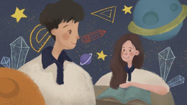 小さな新鮮治療青春高校キャンパスカップル愛イラスト イラスト素材