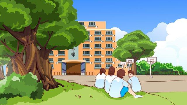 高校生の青春キャンパス生日焼け手描きオリジナルイラスト イラスト素材 イラスト画像
