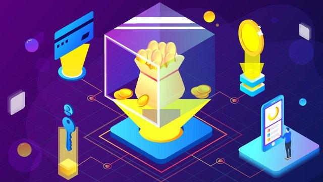 technology blockchain financial management business office scene 25d gradient llustration image