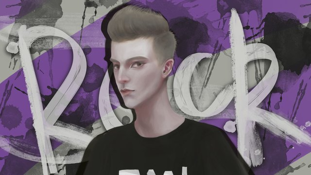 クールなパープルヒップホップの少年ロックストリートイラストレーション イラスト素材 イラスト画像