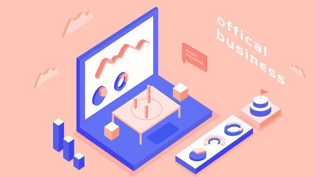 25d isometric business office scene vector illustration llustration image