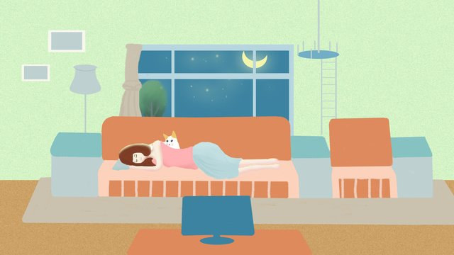 healing a small fresh home living with sleeping girl and good night llustration image illustration image