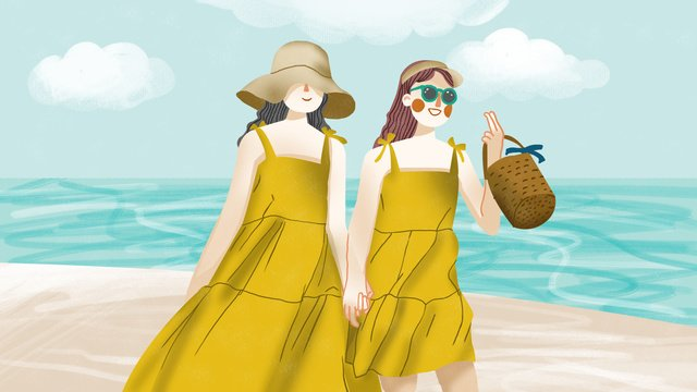 girlfriends daily two girls holding hands walking on the beach llustration image