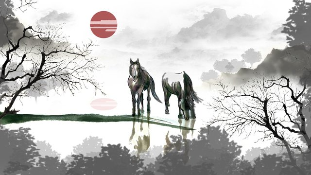 Drinking horse chinese ink painting llustration image