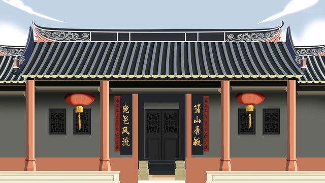 고 대 건축 고대 큰 가족 집 삽화 소재 삽화 이미지