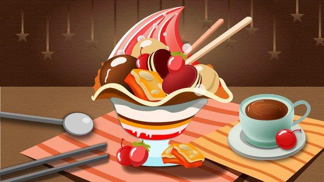 冰淇淋蛋糕咖啡下午茶 插畫素材 插畫圖片