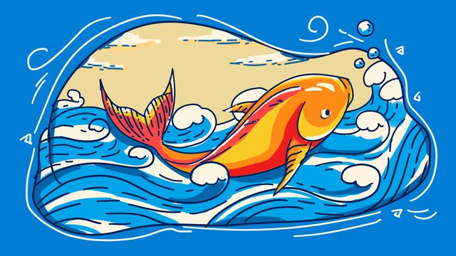 Идиоматическая история такая как рыба ударила по цветовой линии черновой штрих оригинальной ручной росписью иллюстрации Ресурсы иллюстрации Иллюстрация изображения