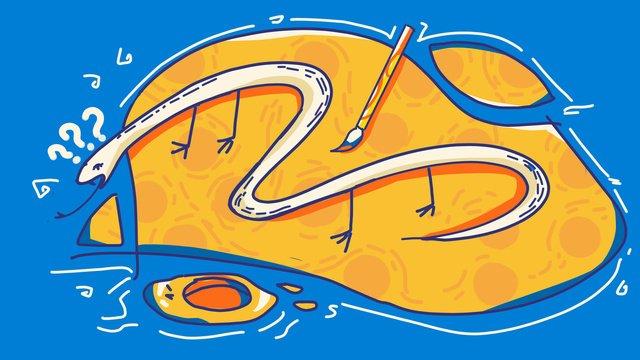 Идиоматизм история змея добавить ногу цвет линии рисования инсульта оригинальная ручная роспись иллюстрации Ресурсы иллюстрации Иллюстрация изображения