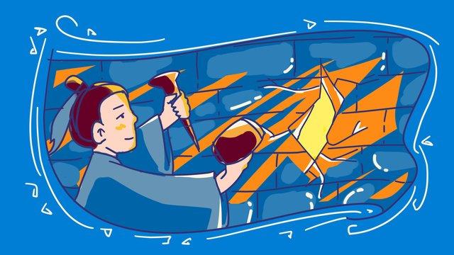 Идиома история стамеска стены красть светлый цвет рисования линий обводки оригинальная ручная роспись иллюстрации Ресурсы иллюстрации Иллюстрация изображения