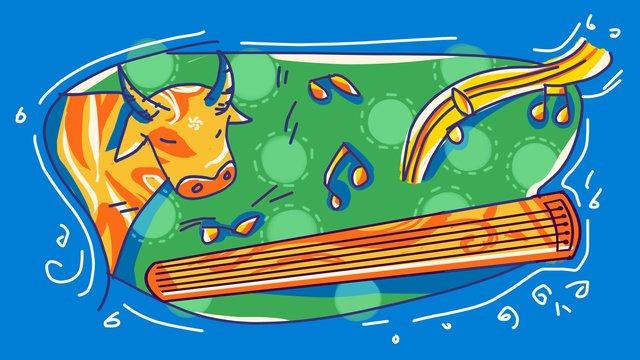 Идиоматическая история о корове играющей на пианино  Удар по цвету Ресурсы иллюстрации Иллюстрация изображения