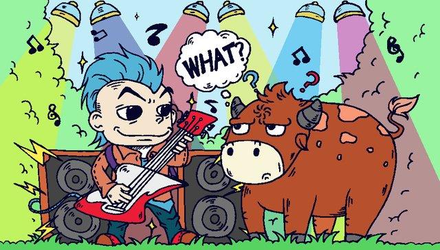 成語故事卡通對牛彈琴吉他音響燈光音符 插畫素材 插畫圖片