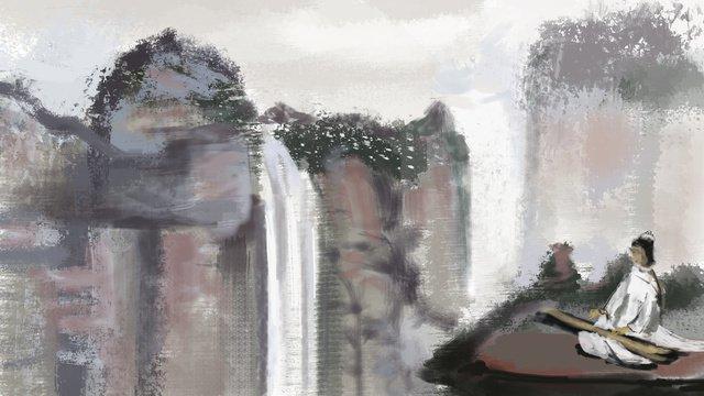 관용구 이야기 산 물 삽화 소재 삽화 이미지