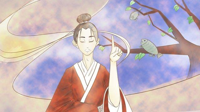 成語故事緣木求魚 插畫素材 插畫圖片