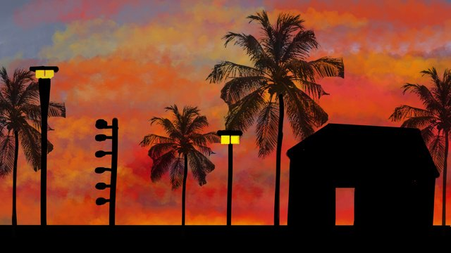 قصة لغة ، غروب الشمس السماء صورة llustration صورة التوضيح
