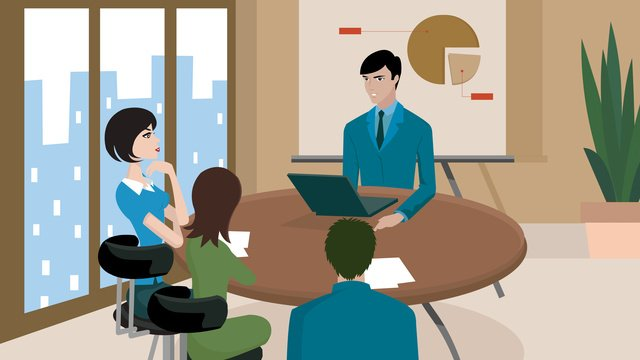 Business office meeting, Illustration, Business Office, Meeting illustration image