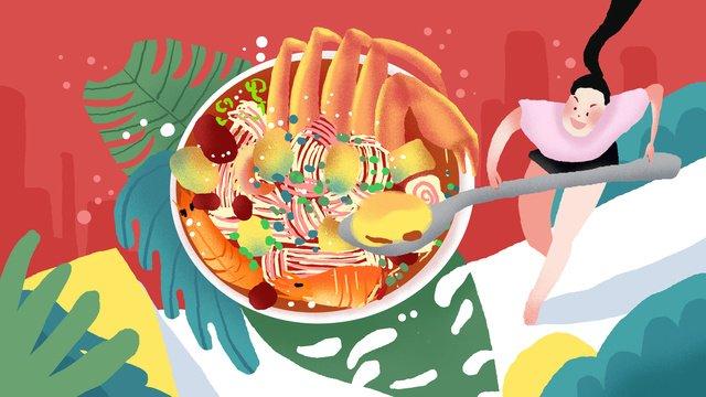 砂茶麺料理街クリエイティブイラスト イラスト素材