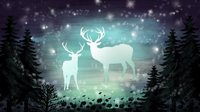 Elk forest night goodnight beautiful dreams healing illustration, Illustration, Decorative Paintings, Background illustration image
