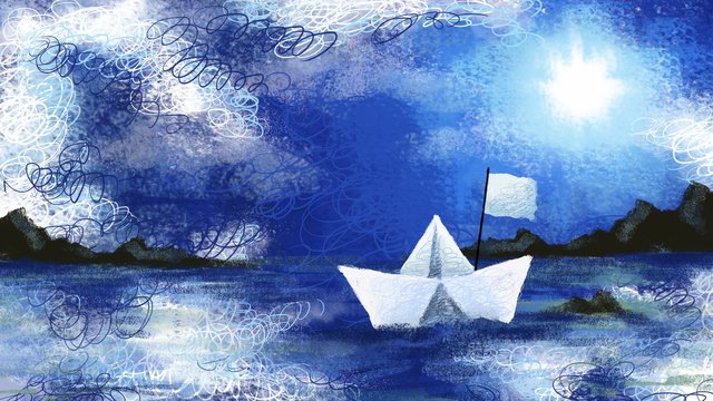 Good morning small paper boat mountain blue sky white cloud sun coil illustration, Illustration, Decorative Paintings, Background illustration image