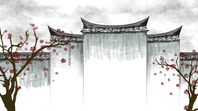 hand drawn ancient city vintage architecture chinese plum blossom illustration llustration image illustration image