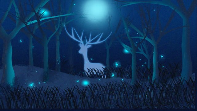 Simple and fresh beautiful deep forest see deer firefly cure illustration, Illustration, Deep Forest See Deer, Forest illustration image
