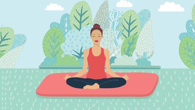 9月こんにちは健康的なヨガスポーツ少女イラスト イラスト素材