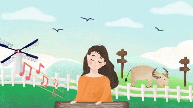 簡約插畫成語故事之對牛彈琴 插畫素材 插畫圖片