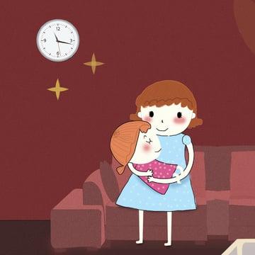 Illustration hello good night mother kid room hand drawn, Illustration, Hello There, Good Night illustration image