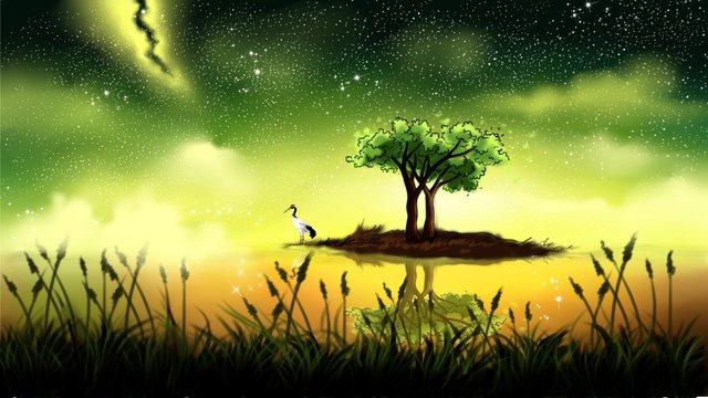 Beautiful healing system starry island scenery illustration, Illustration, Landscape Illustration, Islands illustration image