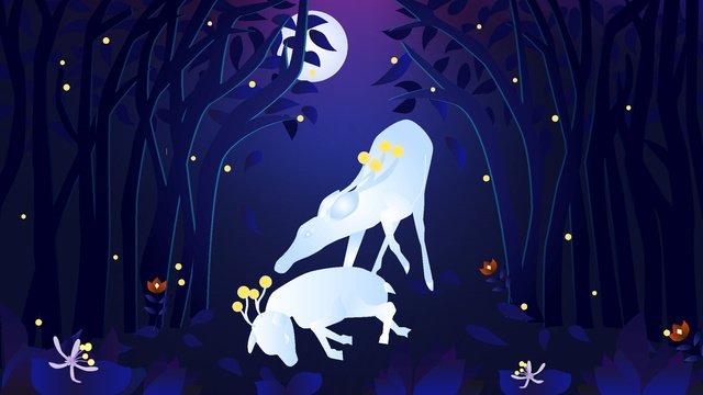 Healing the original illustration of forest and deer under moonlight, Illustration, Moonlight, Forest illustration image