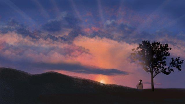 ilustrasi landskap pemandangan matahari terbenam neon yang halus dan realistik kreatif imej keterlaluan