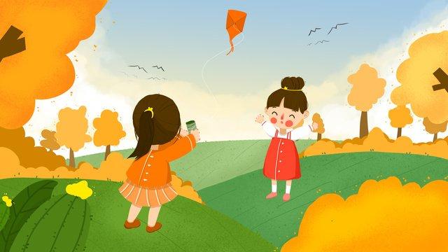 小さな新鮮なイラスト、私と私のガールフレンドは芝生の上に凧を飛ばす イラストレーション画像 イラスト画像