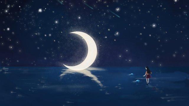 सरल और ताजा सुंदर तारों का आकाश सपना लड़की चित्रण इलाजचित्रण  तारों  वाला पीएनजी और PSD illustration image