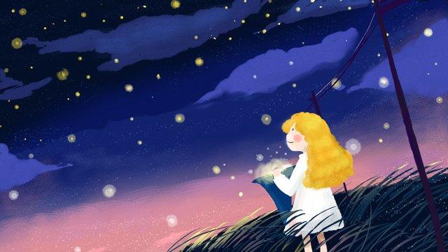 cura starry sky illustration garotinha escolhendo estrelas Material de ilustração